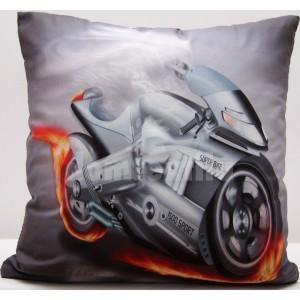 Sivá obliečka na vankôš s potlačou motorky