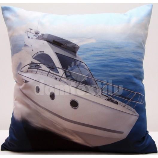 Obliečka na vankúš bielo modrej farby s podtlačou luxusnej lode