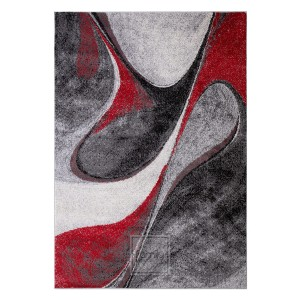 Dizajnový červený koberec s abstraktným vzorom