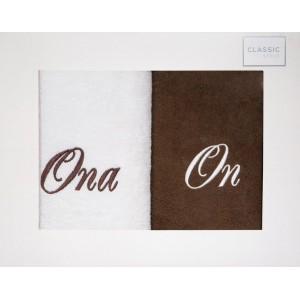 Kvalitná bielo hnedá bavlnená sada uterákov ONA A ON 50 x 90 cm
