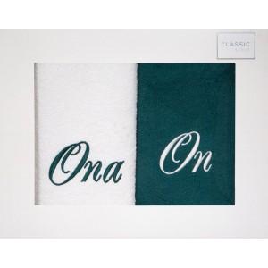 Bielo zelené bavlnené uteráky v darčekovej krabičke 50 x 90 cm