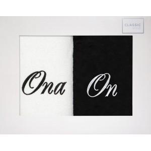 Nadčasová bielo čierna sada bavlnených uterákov ONA A ON 50 x 90 cm