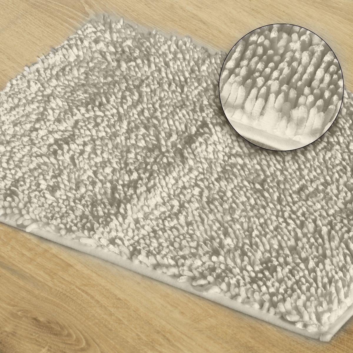 DomTextilu Biely kúpeľňový shaggy koberec Šírka: 50 cm | Dĺžka: 70 cm 44415-208024