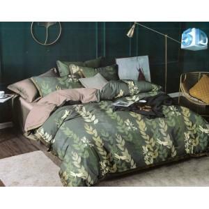 Štýlové zelené obojstranné posteľné obliečky s motívom listov 3časťové 160x200cm SKLADOM