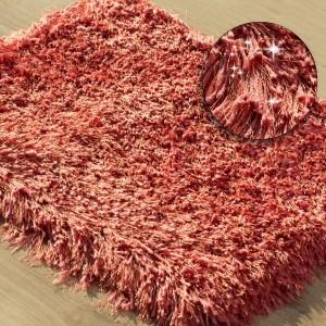 Korálový krásny chlpatý kúpeľňový koberec