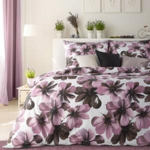 Kvetinové bavlnené posteľné obliečky v krásne bielo ružovej farbe