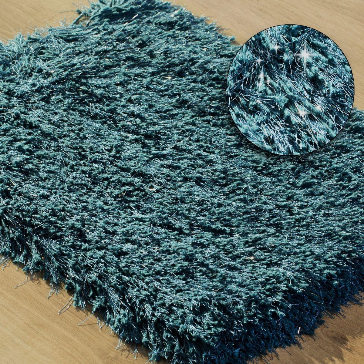 DomTextilu Lurexový tyrkysový koberec do kúpelne Šírka: 50 cm   Dĺžka: 70 cm 44475-217872
