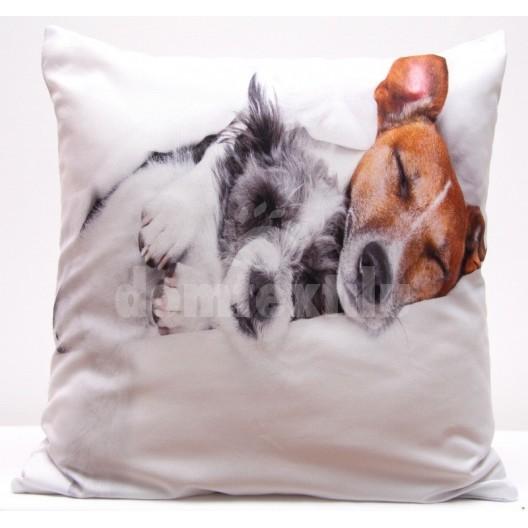 Biele obliečky na vankúše s hnedým a sivým psíkom