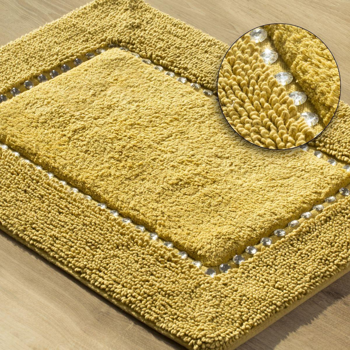 DomTextilu Žltý bavlnený ozdobený koberec do kúpelne 50 x 70 cm Šírka: 50 cm | Dĺžka: 70 cm 44484-208078