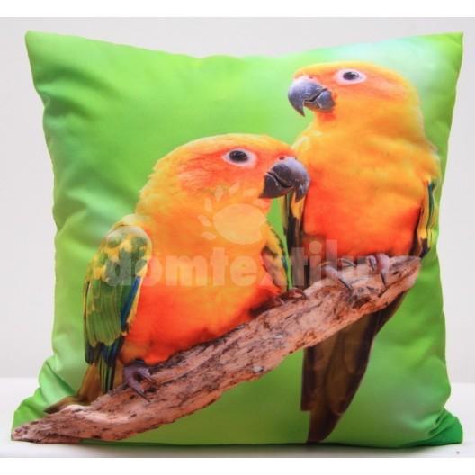 Zelená obliečka na vankúše s oranžovými papagájmi