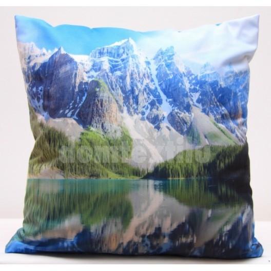 Modrá obliečka na vankúše s podtlačou hôr