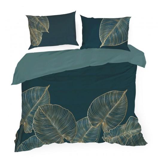 Kvalitné tmavo tyrkysové bavlnené posteľné obliečky so zlatými listami