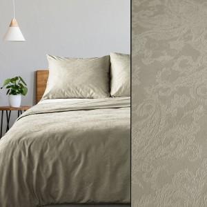 Luxusné béžové damaškové posteľné obliečky s kvetinovou štruktúrou
