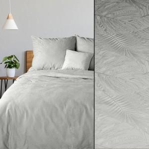 Strieborno sivé dámaškové bavlnené posteľné obliečky s reliéfnou štruktúrou kvetov