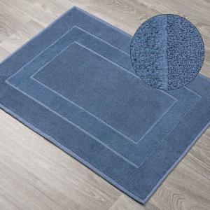 Modrá kúpeľňová predložka z froté bavlny