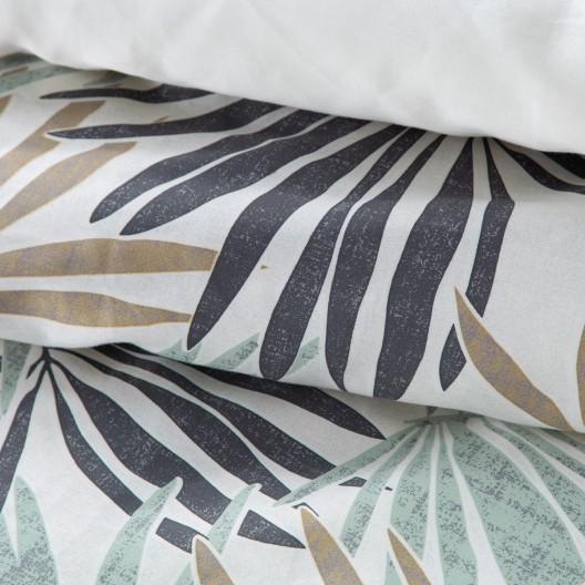 Smotanovo zelené posteľné obliečky s motívom rastlín