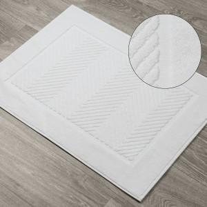 Biela kúpeľňová predložka so žakárovým vzorom 60 x 90 cm