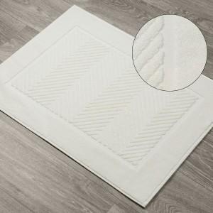 Krémový vzorovaný kúpeľňový koberec z bavlny