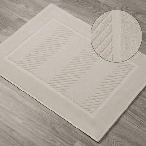 Kúpeľňový béžový koberec so žakarovým vzorom 60 x 90 cm