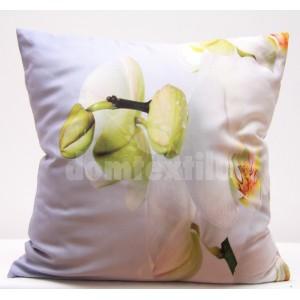 Biele obliečky na vankúš s motívom bielej orchidey