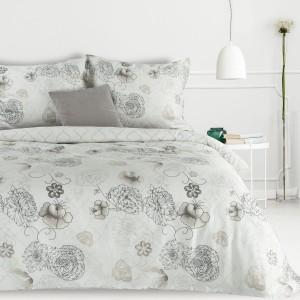 Krásne bielo sivé bavlnené posteľné obliečky s motívom jemných kvetov