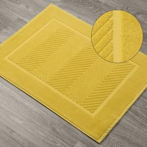 Žltá žakarová podložka do kúpelne z bavlny