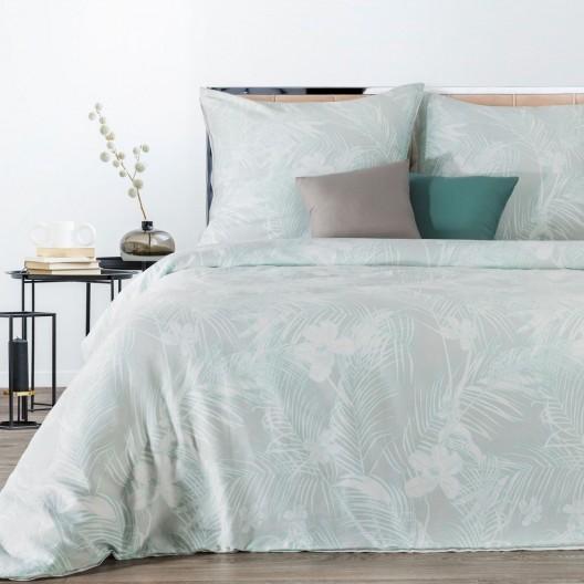 Pastelovo zelené bavlnené posteľné obliečky s motívom kvetov