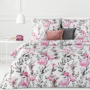 Obojstranné bielo ružové bavlnené posteľné obliečky s kvetmi