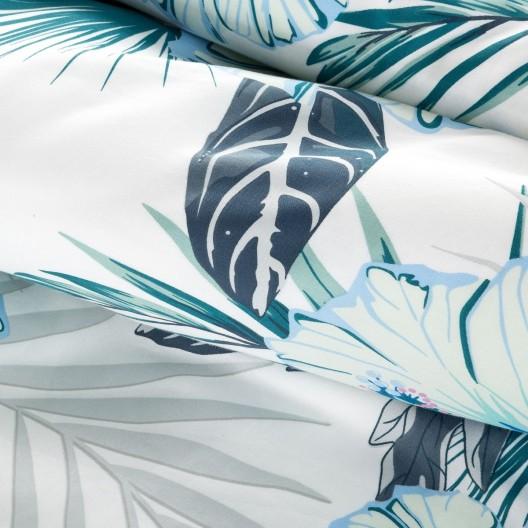 Elegantné bielo modré bavlnené posteľné obliečky s kvetmi