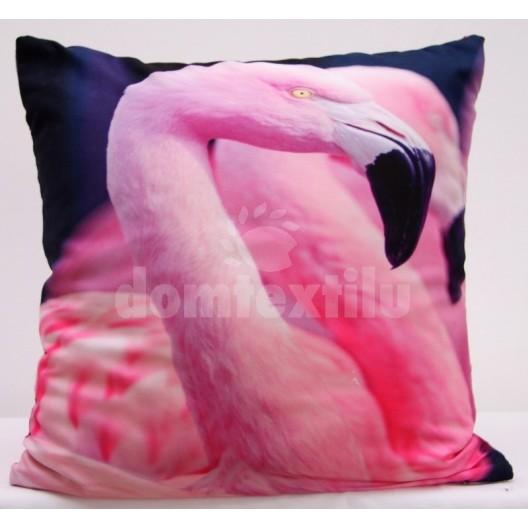Ružová obliečka na vankúš s motívom ružových plameniakov