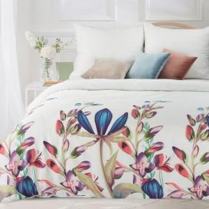 Exkluzívne biele posteľné obliečky bavlnený satén s kvetmi