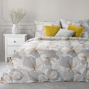 Kvalitné béžové zlaté kvetinové posteľné obliečky bavlnený satén