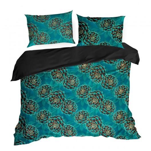 Krásne tyrkysovo čierne posteľné obliečky bavlnený satén