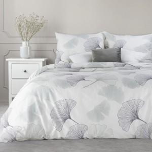 Luxusné biele posteľné obliečky bavlnený satén s potlačou gingko listov