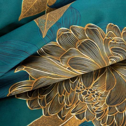 Kvalitné zelené bavlnené posteľné obliečky s motívom kvetov