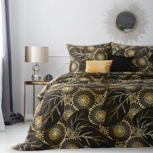 Luxusné čierne bavlnené posteľné obliečky so zlatým abstraktným vzorom
