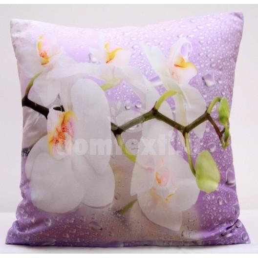 Fialová obliečka na vankúše s orchideami a kvapkami