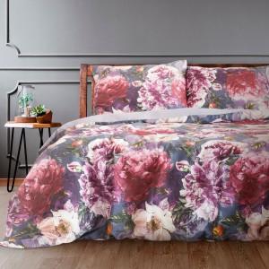 Krásne fialové posteľné obliečky bavlnený satén s kvetom pivónia