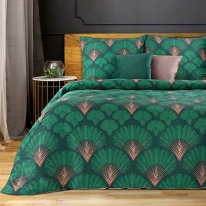 Zeleno ružové ornamentálne posteľné obliečky bavlnený satén