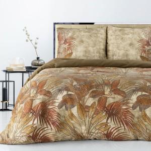 Béžové posteľné obliečky bavlnený satén s motívom jesenné listy