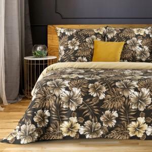 Luxusné hnedé kvetinové posteľné obliečky s kvetmi