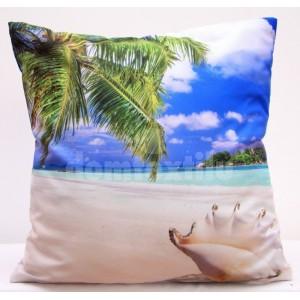 Pieskovo modré obliečky na vankúš s motívom slnečnej pláže