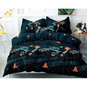 Petrolejovo zelené detské posteľné obliečky s motívom traktora