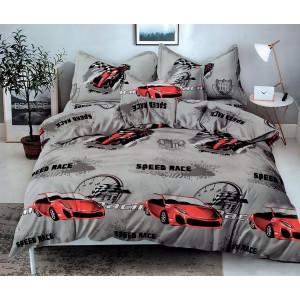 Moderné sivé detské posteľné obliečky s autami