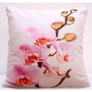 Biele obliečky na vankúše s ružovou orchideou