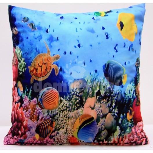 Modrá obliečka na vankúše s podtlačou morského sveta