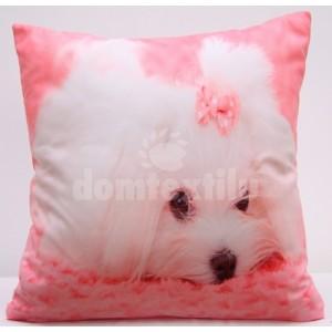 Ružová obliečka na vankúš s roztomilým bielym psíčkom