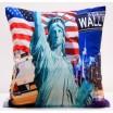 Modré obliečky na vankúše s americkým motívom sochy slobody