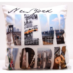 Biela obliečka na vankúše s motívom New York