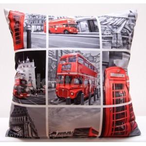 Sivé obliečky na vankúše s podtlačou Londýna